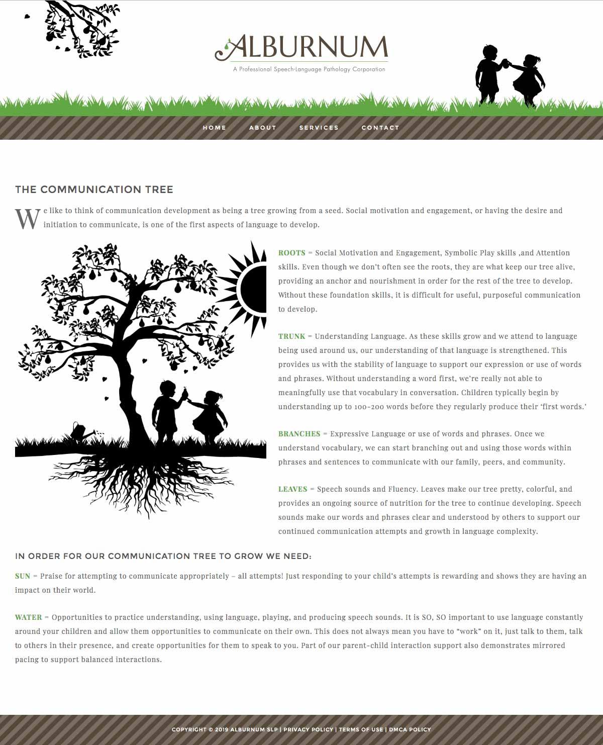 Alburnum Communication Tree page screen shot