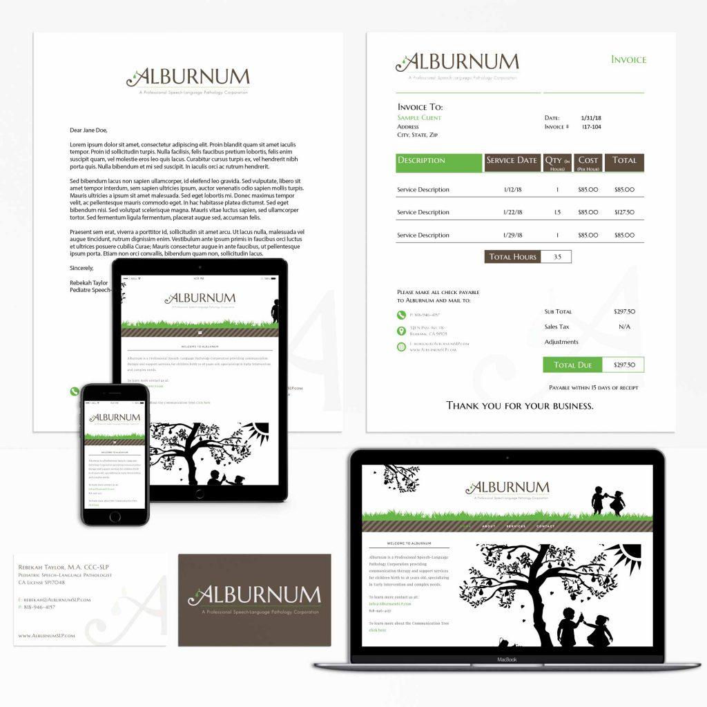 Alburnum Website and Stationery Display