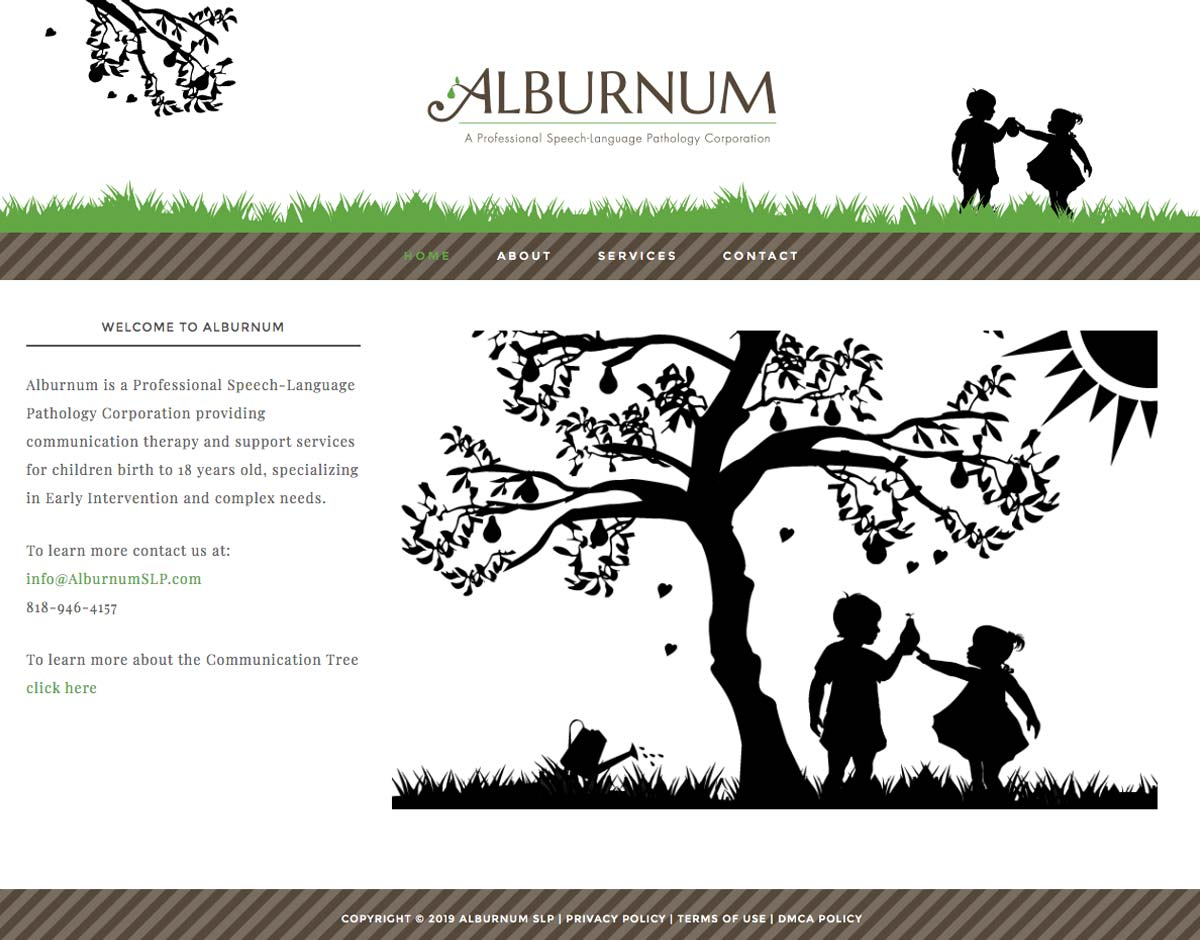 Alburnum Home Page screen shot