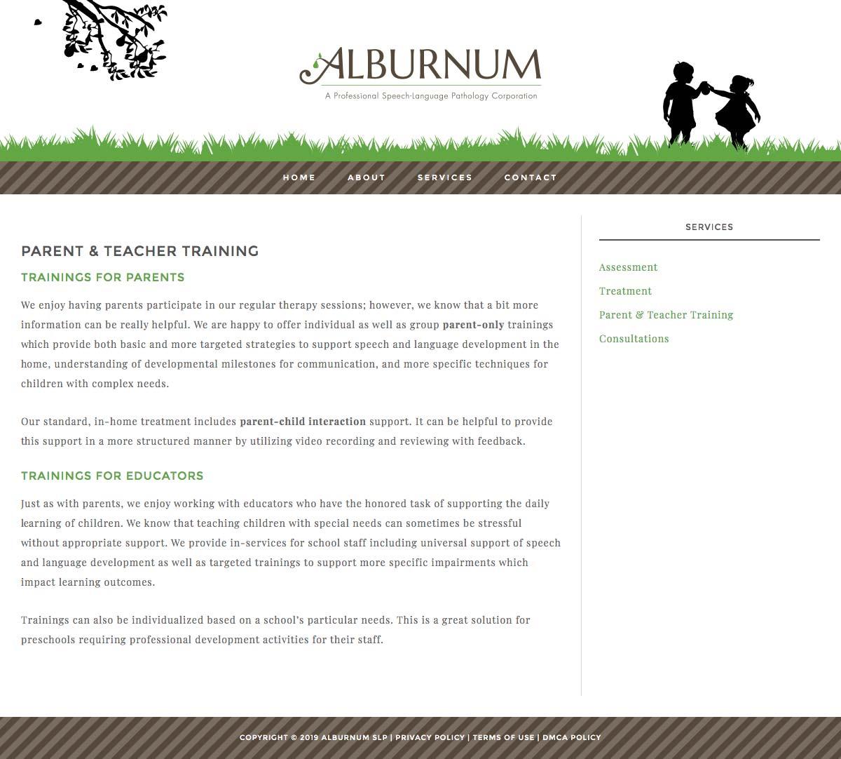 Alburnum Services page screen shot