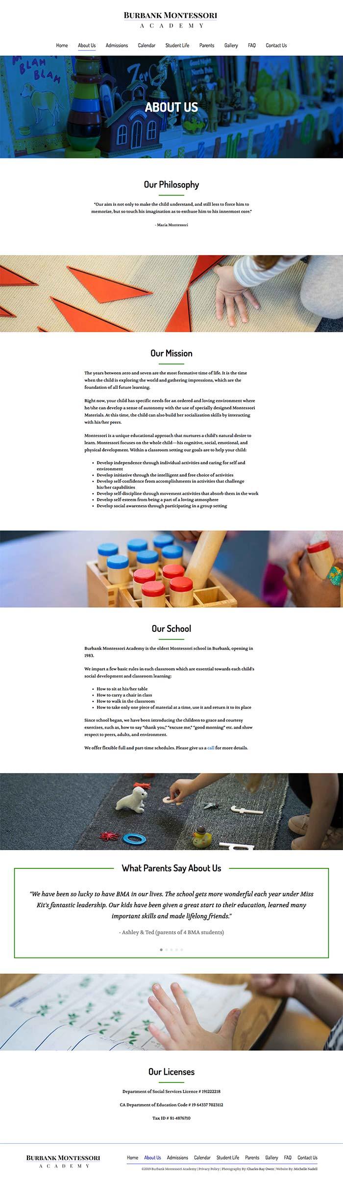 Burbank Montessori Academy about page screen shot