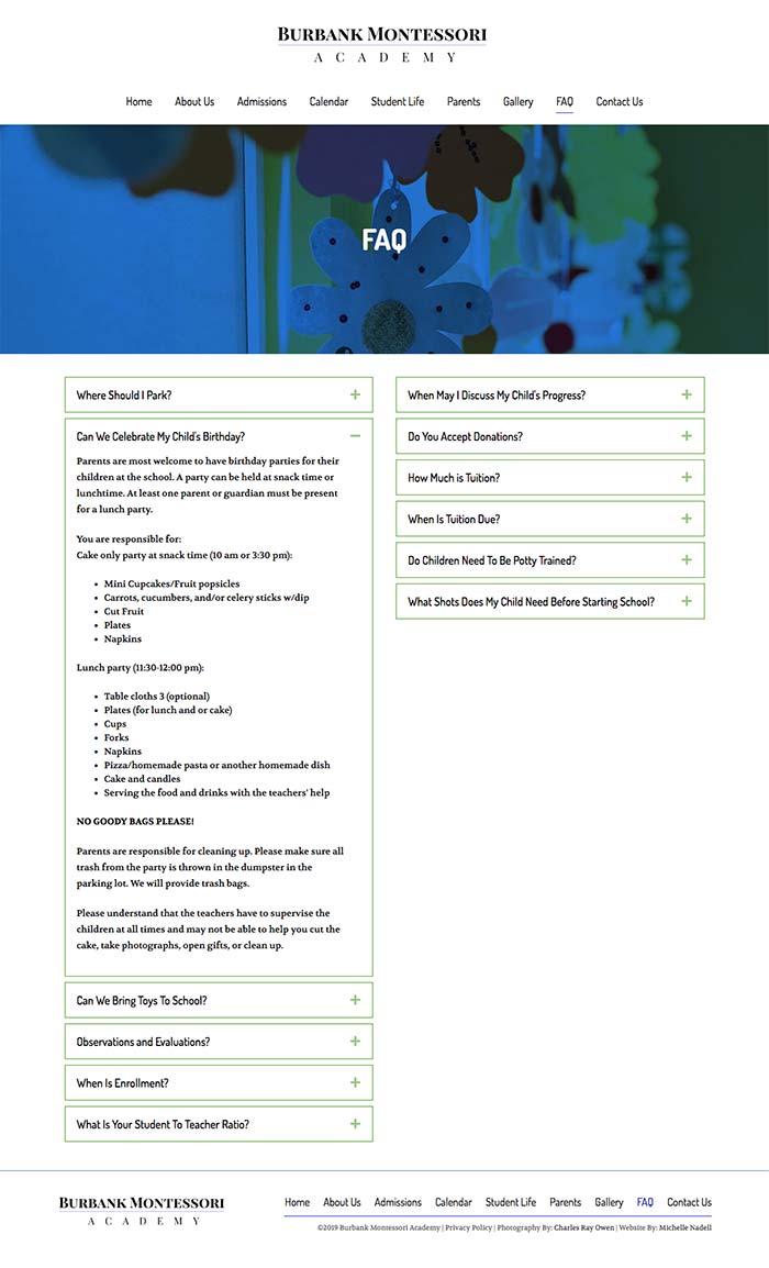Burbank Montessori Academy FAQ page screen shot