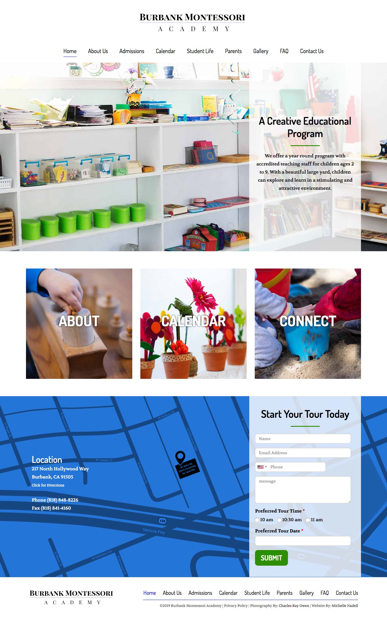 Burbank Montessori Academy home page screen shot