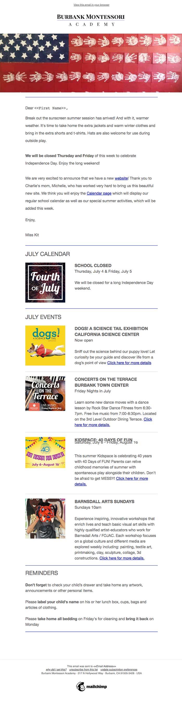 Burbank Montessori Academy eNewsletter screen shot