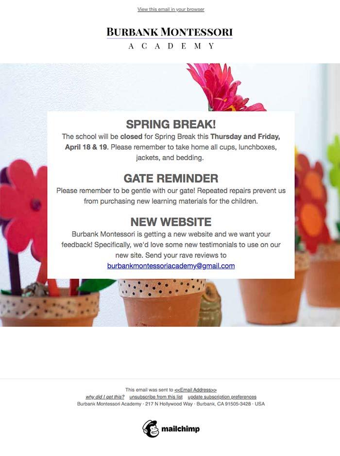 Burbank Montessori Academy reminder email screen shot