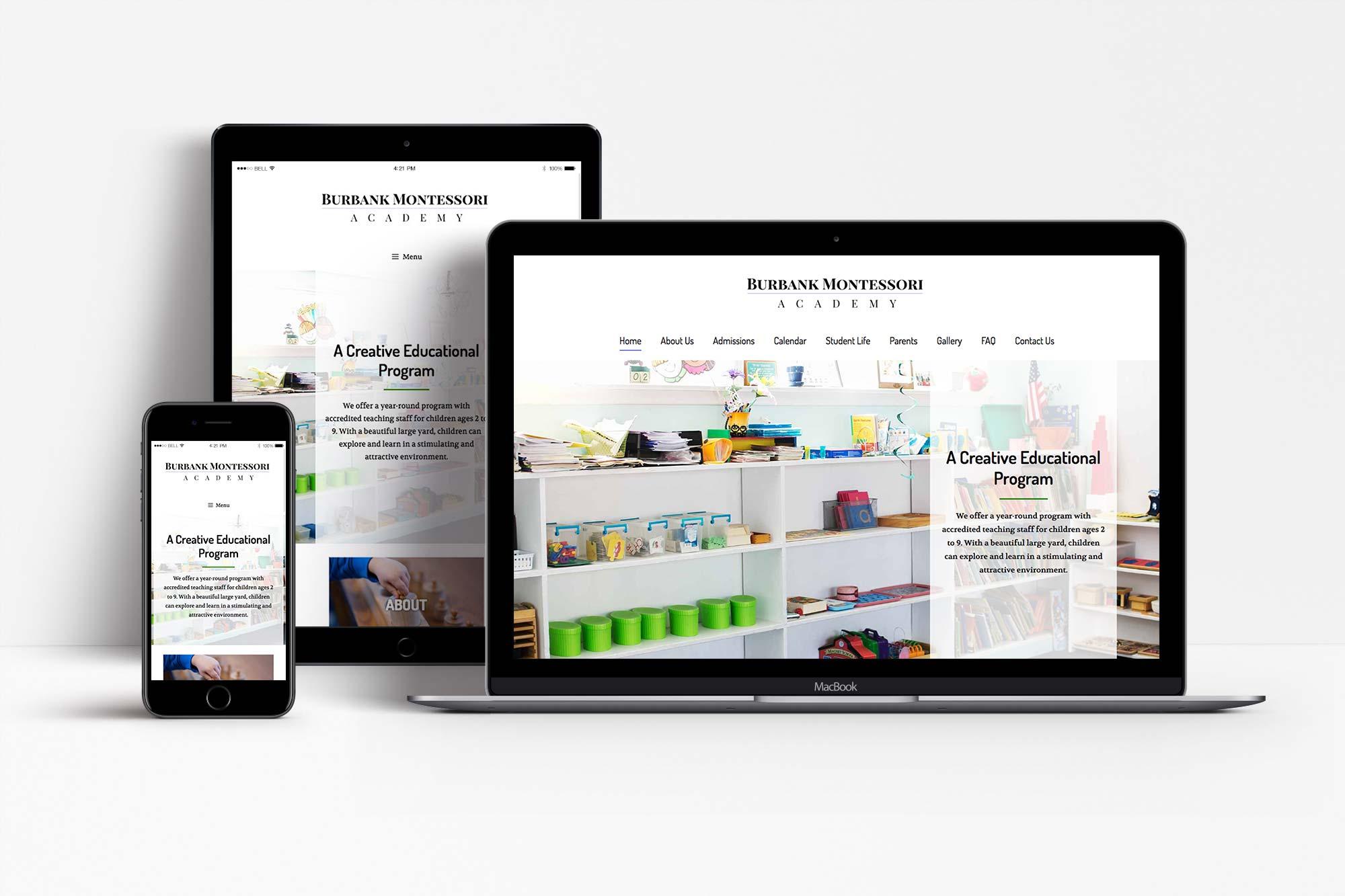 Burbank Montessori Academy responsive display