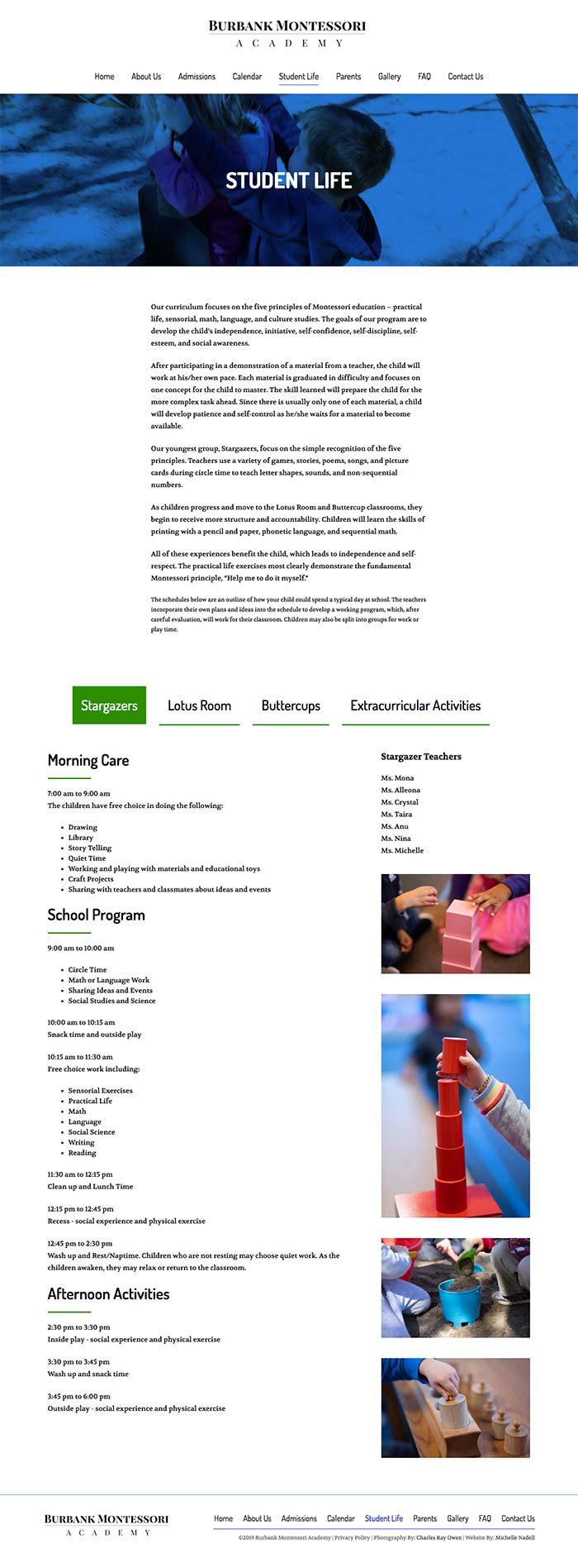Burbank Montessori Academy student life page screen shot