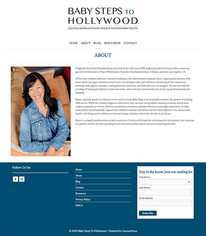 Baby Steps To Hollywood About Page