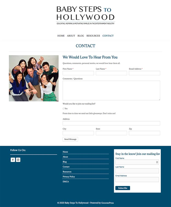 Baby Steps To Hollywood Contact Page