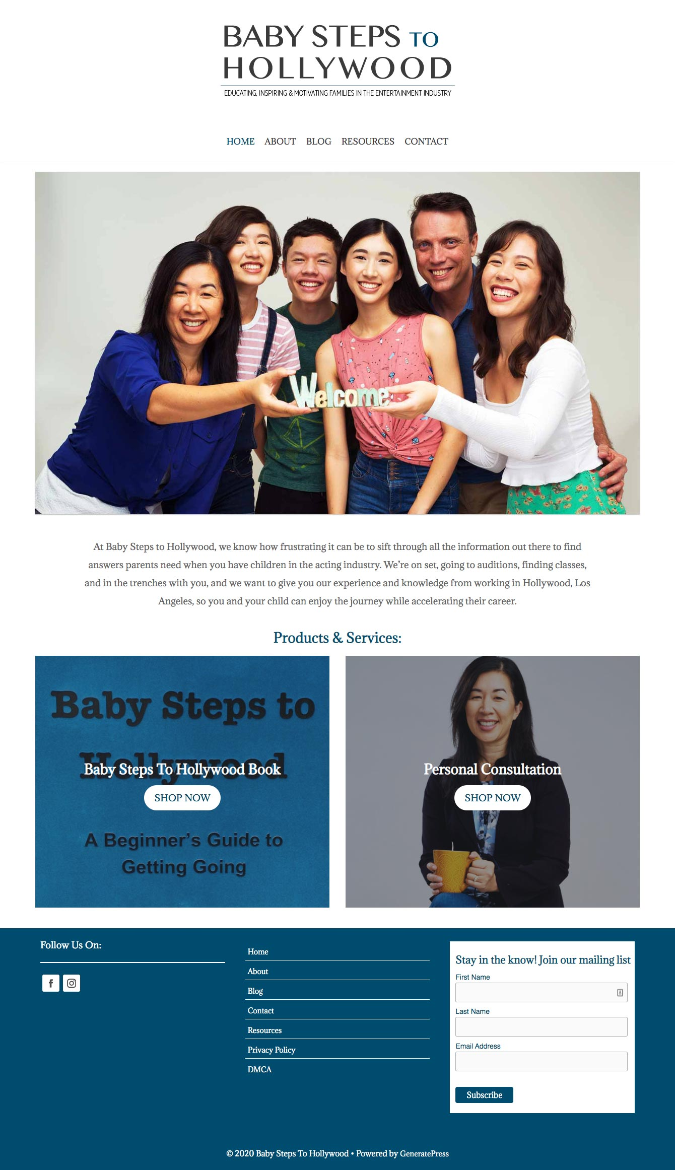 Baby Steps To Hollywood Home Page