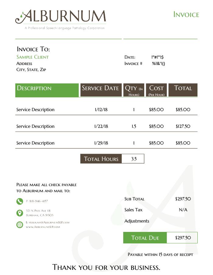 Alburnum Invoice Sample
